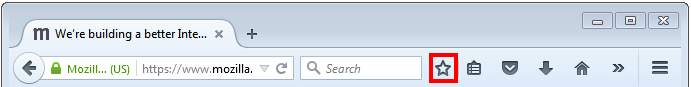 screen shot of Firefox menu bar with star icon highlighted
