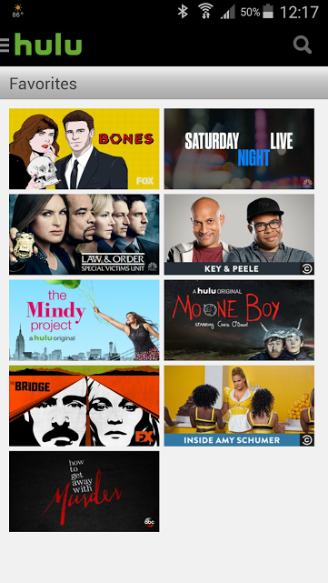 screenshot of Favorite shows on Android