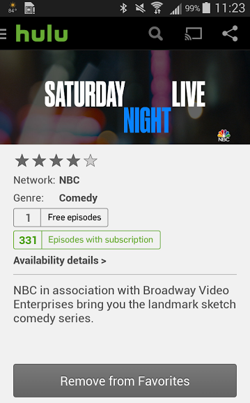 screenshot of the Hulu app on Android