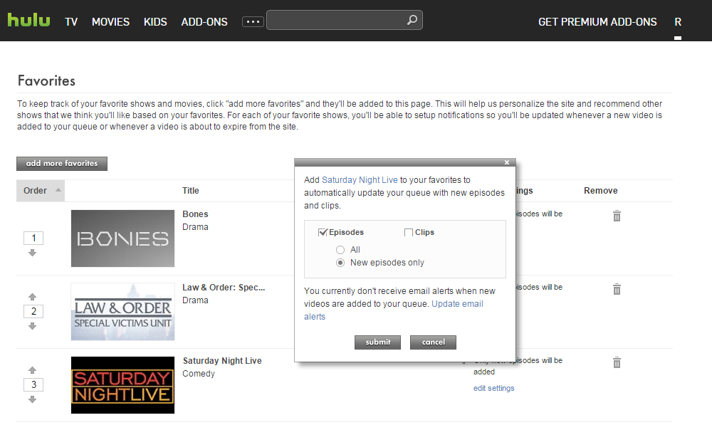Screenshot of Hulu's Favorites page