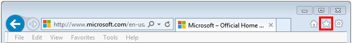 screen shot of IE menu bar with star icon highlighted