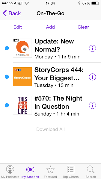 screen shot of the iOS8 Podcasts app screen