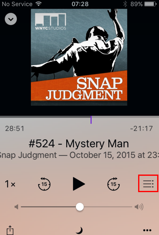 "screen shot of the podcast play screen with the ""Up Next"" button highlighted"
