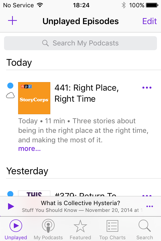 screen shot of the iOS9 Podcast app Unplayed Episode screen