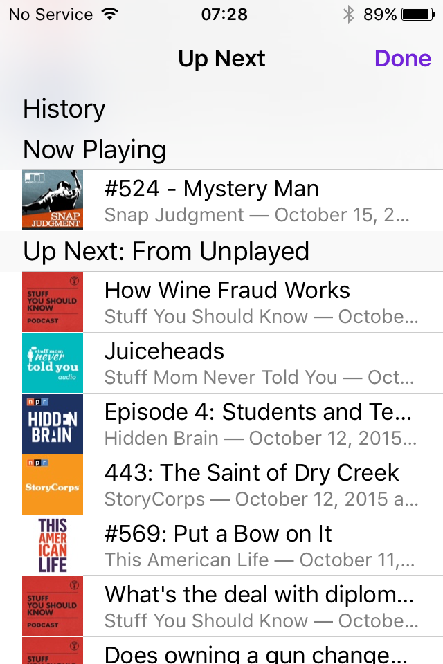 screen shot of the iOS9 Podcast app Up Next screen listing episodes