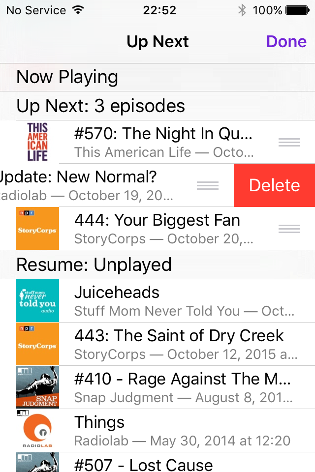 screen shot of the iOS9 Podcast app on an iPhone screen