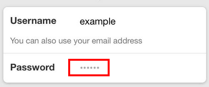 Sign in form with password placeholder dots