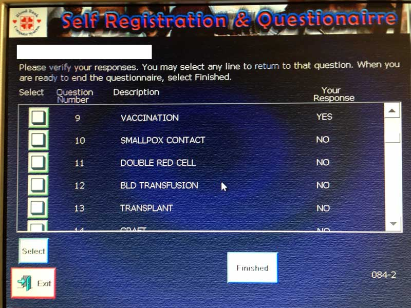 screen shot of the questionnaire's end screen that asks the user to review the answers to all questions