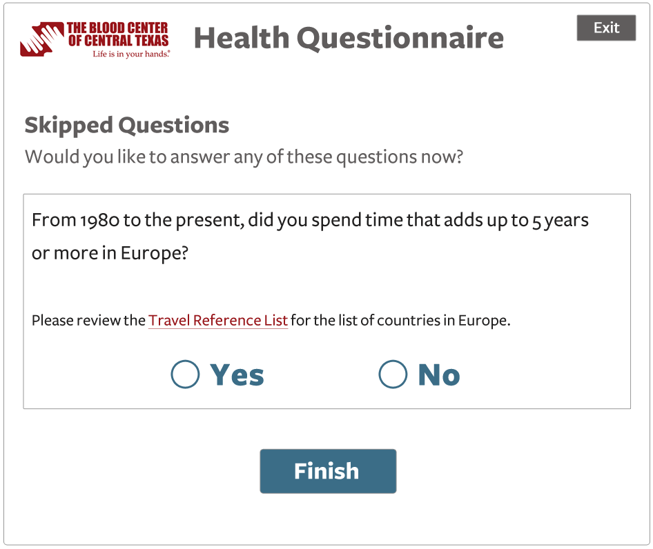 end screen mock up that asks users if they would like to answer any questions skipped during the questionnaire