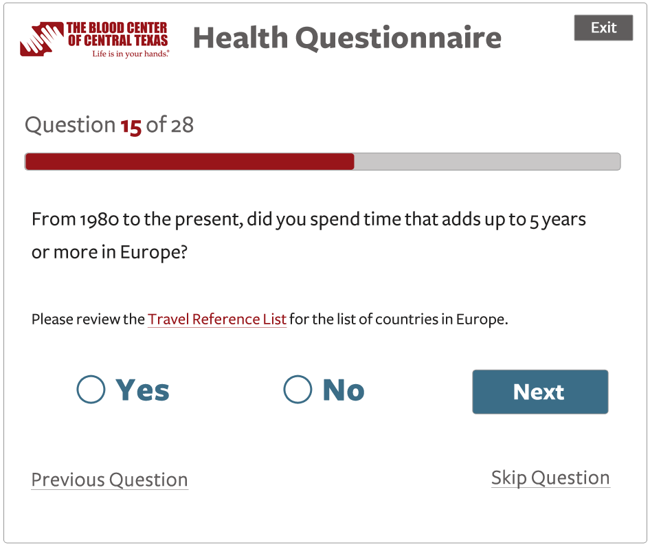 Screen shot of a new mock up of the questionnaire UI
