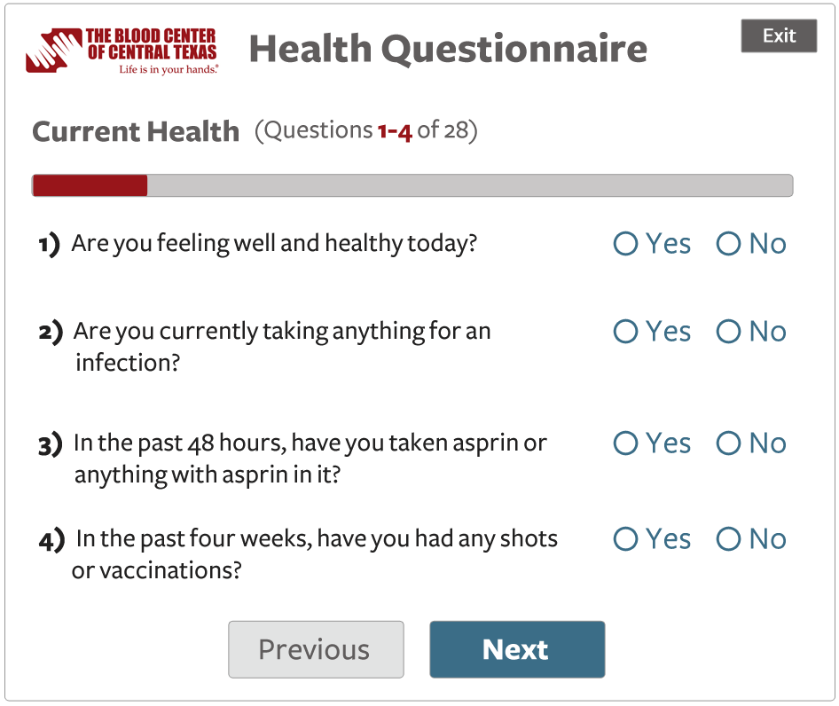 questionnaire screen with 4 questions in a Current Health section