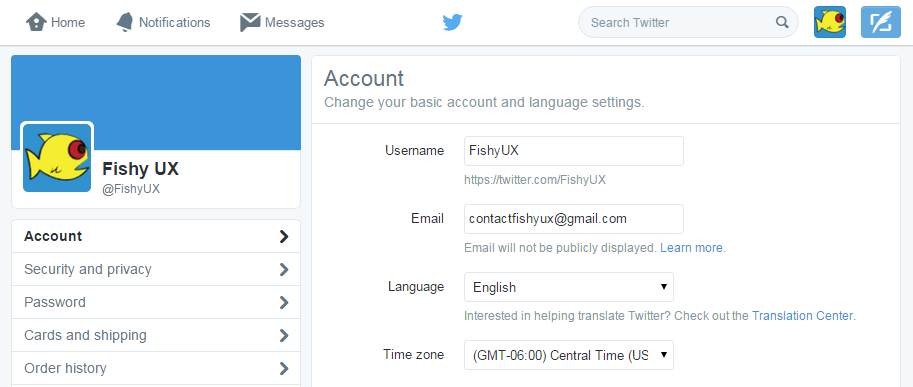 Screen shot of the Fishy UX Twitter account settings page
