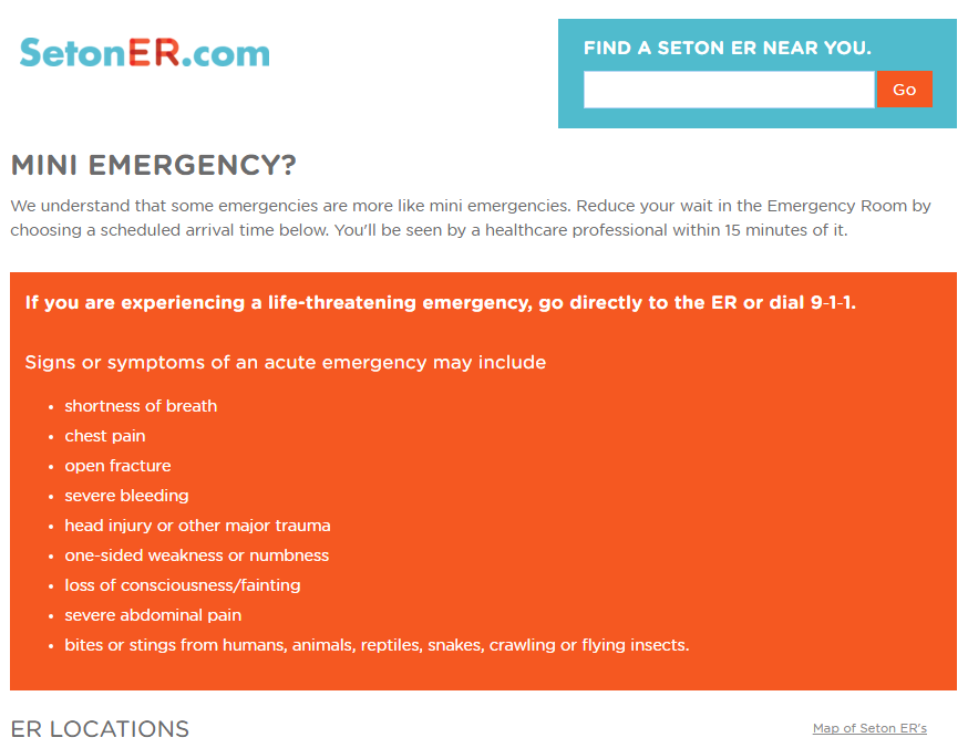 screenshot of design changes to the Seton ER homepage with important information highlighted