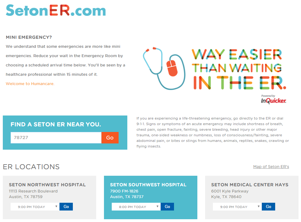 screen shot of the Seton ER hospital home page with a form to locate a hospital