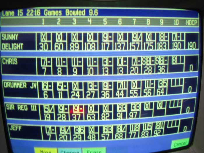photo of a bowling screen with 10 frames