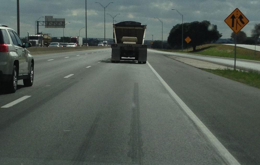 Dump truck on the highway