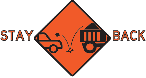 Stay Back with an image of a dump truck dropping a rock that hits a car