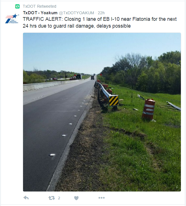 screen shot of a tweet with a large embedded image of a road with damaged guardrail
