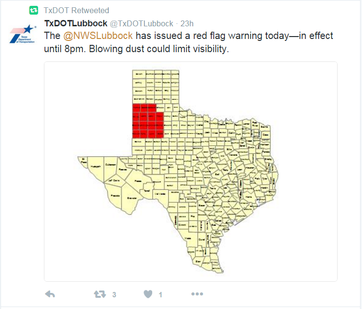 screenshot of a tweet with a small embedded image of the state of Texas with county names too small to read
