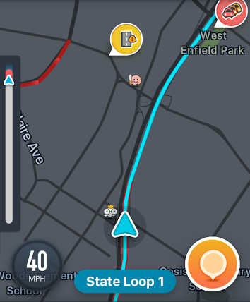 screenshot of the Waze map with a status bar on the left side that has no label to indicate its purpose