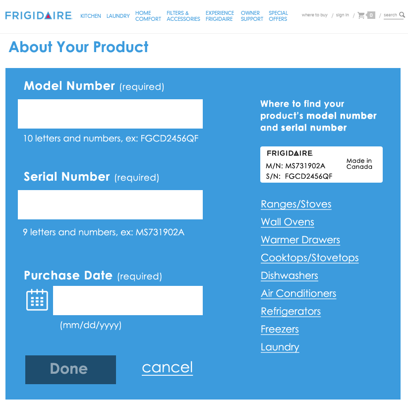 screenshot of the form with three fields model number, serial number, purchase date and links to find this information