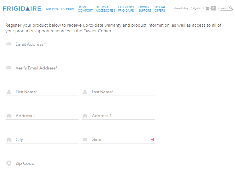 screenshot of a web form on the Frigidaire website