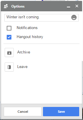 screenshot of the Hangouts extension 'Options' screen with edit name, notifications check box, history check box, archive, and leave