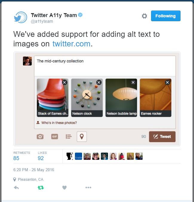 screenshot of the Twitter a11y tweet announcing desktop support for image descriptions, alt tags