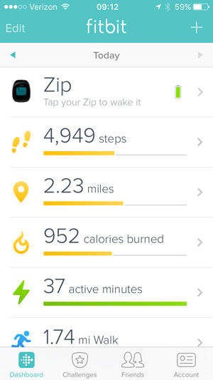 fitbit dashboard with stats like steps and miles listed vertically