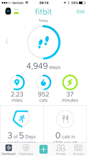 fitbit dashboard stats like steps and miles represented as tiles