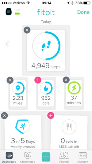 fitbit dashboard edit screen with small x icons to remove stats tiles