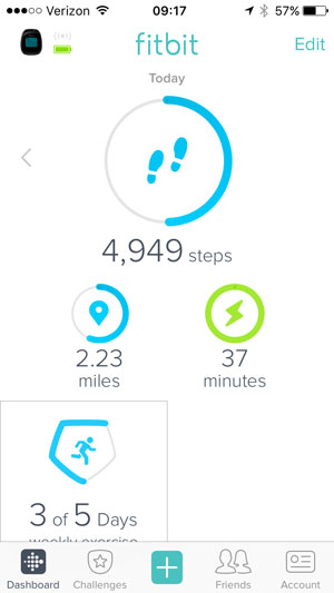 fitbit dashboard showing only steps, miles, minutes, and days of exercise