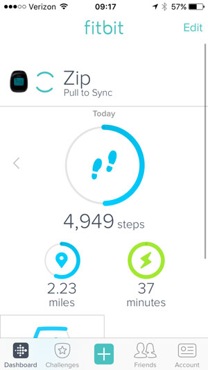 fitbit pull to sync on the dashboard screen