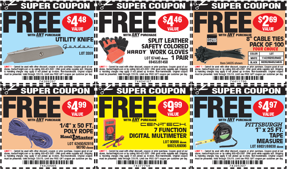 various free item coupons like zip ties, measuring tape, multimeter