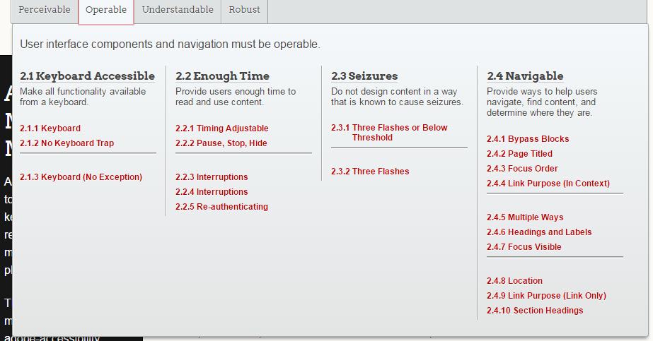 screen shot of a mega menu on Adobe's Accessible Mega Menu page