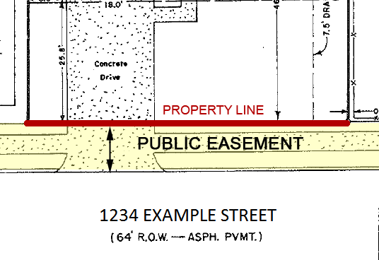 map showing public easement between sidewalk and street