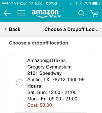Screenshot: Select a drop off location
