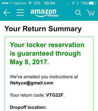 Screenshot: your locker reservation is guaranteed through May 8, 2017