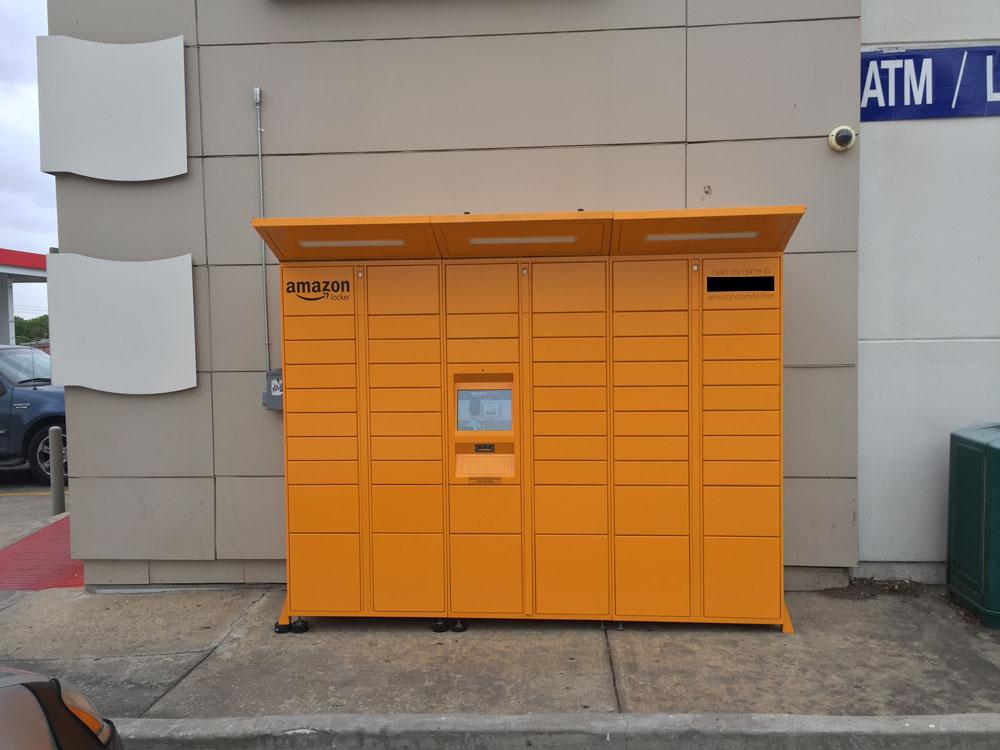 Big, yellow bank of lockers