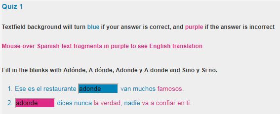 Quiz answers in blue are correct
