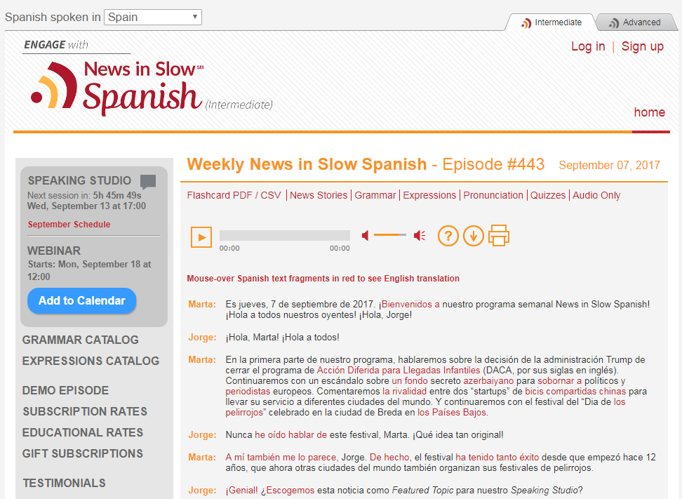 screen shot of the News in Slow Spanish home page