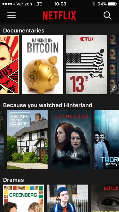 Screen shot of the Netflix iOS movie selection pattern