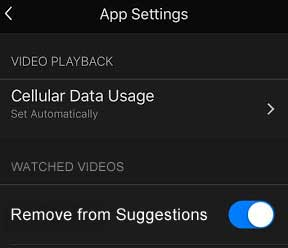 Screen shot of the app settings with a toggle switch to remove watched videos from suggestions