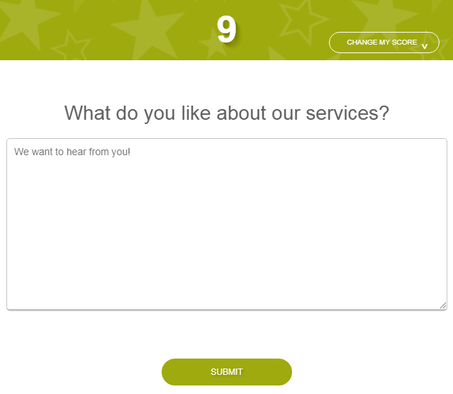 Rating screen asking what do you like about our services?