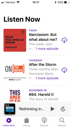 screenshot of the Listen Now screen which lists the latest podcast episodes