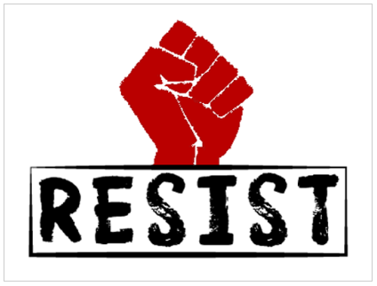 image of a red fist above the word resist in black