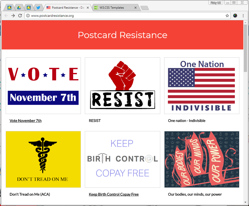 screenshot of the Postcard Resistance site showing 6 sample postcard fronts