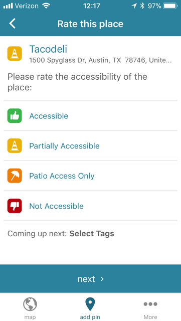 screen shot of the add place screen with options to rate how accessible it is