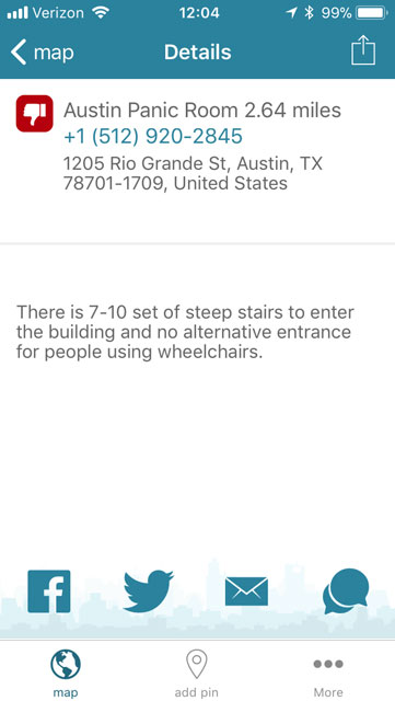 screen shot explaining the accessibility issues with the Austin Panic Room