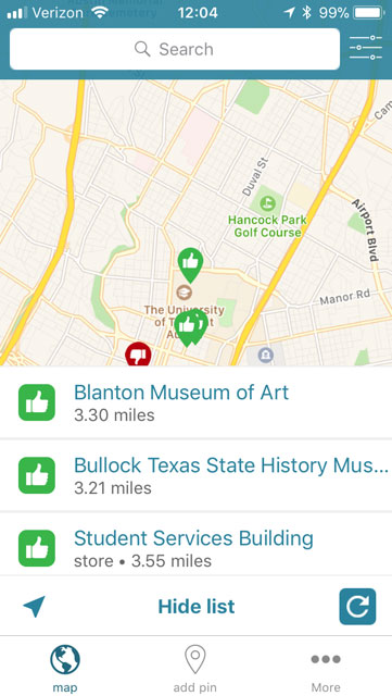 screenshot of the list view of map pins